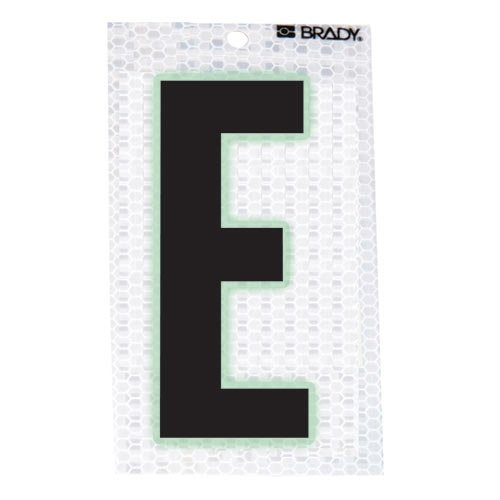 Brady 3020-E, 105586 Glow-In-The-Dark/Ultra Reflective Letter - E, 15 Packs of 10 pcs