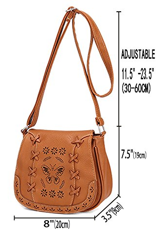 Crossbody Bausweety PU brown A Girl for Hollow Shoulder Vintage Bag Leather Bag T4wxr41Uq5