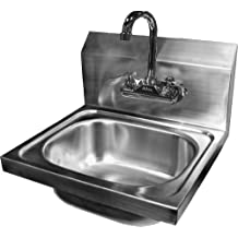 ACE Wall Mount Stainless Steel Hand Sink with No Lead Faucet and Strainer, 15-3/4 by 15-Inch
