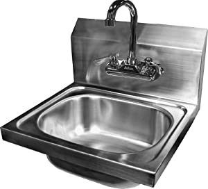 ACE Wall Mount Stainless Steel Hand Sink With No Lead Faucet And Strainer,  15 3/4 By 15 Inch