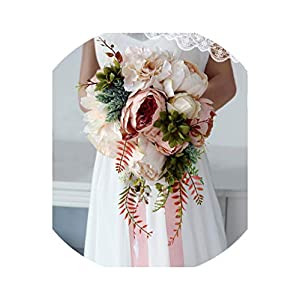 Romantic Country Style Waterfall Wedding Bouquet Champagne Bridal Artificial Silk Flowers Decoration 86