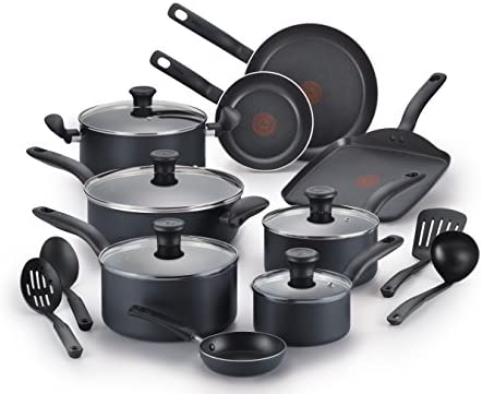 T-fal B208SI64 Initiatives Nonstick Inside and Out Dishwasher Safe Oven Safe Cookware Set, 18-Piece, Charcoal
