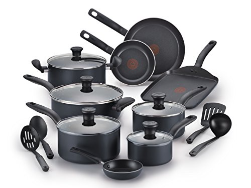 - T-fal B208SI64 Initiatives Nonstick Inside and Out Dishwasher Safe Oven Safe Cookware Set, 18-Piece, Charcoal