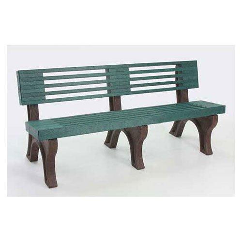 Elite 6 Ft. Backed Bench, Green Bench/Brown Frame