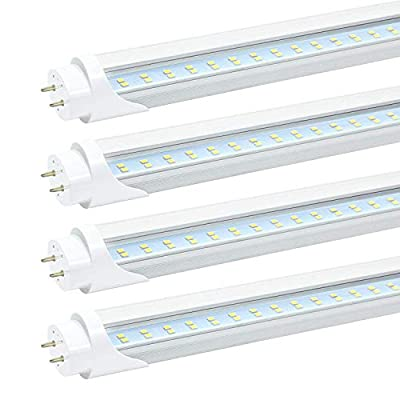 JESLED T8 4FT LED Tube Light, 24W Dual-Row LED Fluorescent Bulbs (40-65W Equivalent), 5000K Daylight 3000 Lumens, Clear Cover, Ballast Bypass (4-Pack)