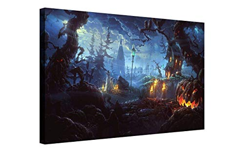 NAN Wind Pumpkin Lantern in Dark Creepy Forest with Dark Clouds Haunted House Painting Halloween Wall Art Painting Pictures Festival Art Print Print On Canvas Art The Picture for Home ()