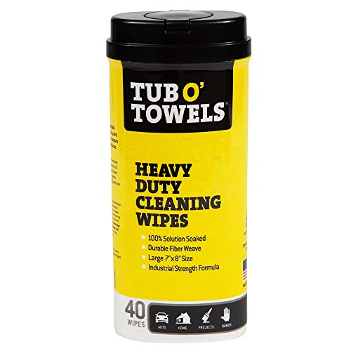 "Tub O Towels HeavyDuty 7"" x 8"" Size MultiSurface Cleaning Wipes, 40 Count Per Canister from Tub O Towels"