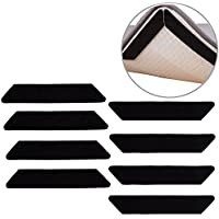 Oululu Non-slip Rug Grippers - Anti Curling Rug Anchors with Double Sided Adhesive Tape for Protecting Hardwood Floor and Flatting Carpet Edge (Black - Pack of 8)