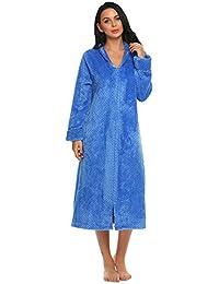 Langle Women's Kimono Robe Plush Soft Warm Fleece Bathrobe Elegant Zipper Robe S-L