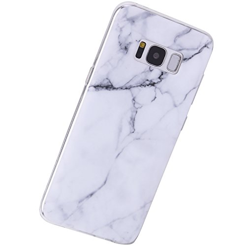 Marble Samsung Galaxy S8 Plus Case White,VIVIBIN Shock Absorption IMD Soft TPU Gel Case for Galaxy S8+ White Marble-01- DO NOT compatible with Regular S8(small size)