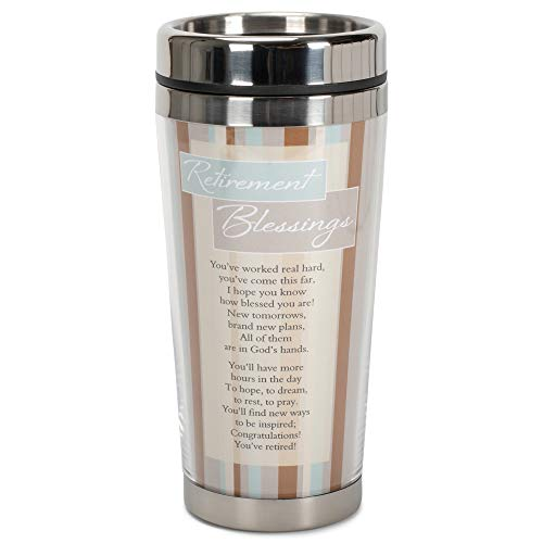 Retirement Blessings Brown Stripes 16 ounce Stainless Steel Insulated Travel Mug with Lid (Retirement Basket Ideas)