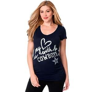 NFL Dallas Cowboys Maternity Fashion T-Shirt - Navy Blue (Small)