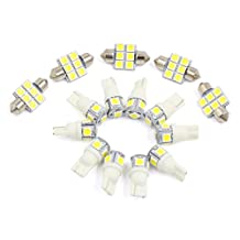 X AUTOHAUX® 15PCS White Car Auto Dome Map Reading LED Lights Interior Package Kit For Toyota Sienna 2004-2011