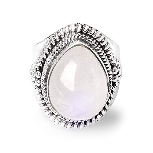 - SUVANI Sterling Silver White Moonstone Pear Shaped Triple Rope Edge Unisex Vintage Large Ring Size 7