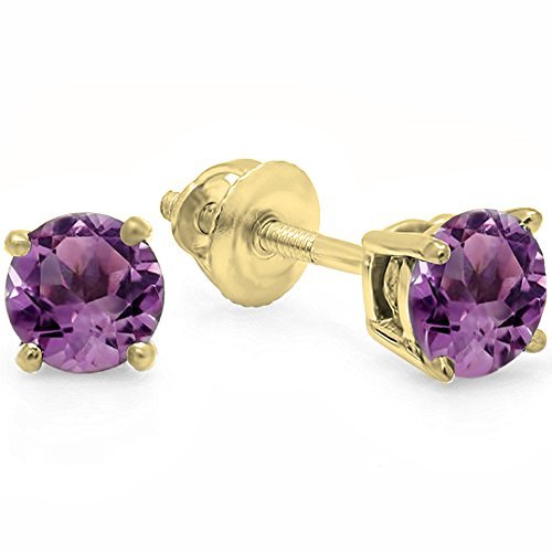 Dazzlingrock Collection 14K 5.5mm each Round Cut Ladies Solitaire Stud Earrings, Yellow Gold