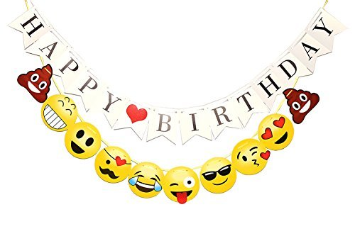 TAOTEC Happy Birthday Bunting Banner with Emoji Banner for Party Decorations (10.3 ft String, -