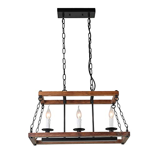 Light Pendant Holder Three - Anmytek Wood Metal Chandelier 3 Candle Holder Pendant Light, Rustic Industrial Edison Hanging Light Vintage Kitchen Island Ceiling Light Fixture, Brown(C0053)