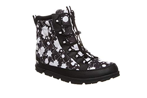 (Pakems Vail Paint Splash - Kid's Lightweight, Packable, Waterproof, Faux-Fur Après Ski and Travel Boot - Customizable with Fun Arts and Crafts Colored Marker Pack - Above Ankle (Size 4))