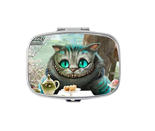 Storage Cheshire - Cheshire Cat Custom Silver Stylish, slim design Pill Box Holder,rectangle Medicine Vitamin Organizer Pill case