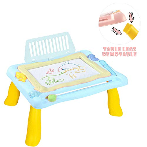 asika Magnetic Doodle Board Drawing Table, Deluxe Activity Travel Desk - Learn and Sketch Writing Magic Pad with Erasable 3 Magnets for Kids and Toddlers - Travel Size (Sky Blue)