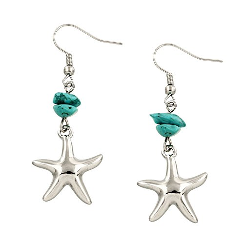 Liavy's Starfish Fashionable Gemstone Earrings - Fish Hook - Turquoise -