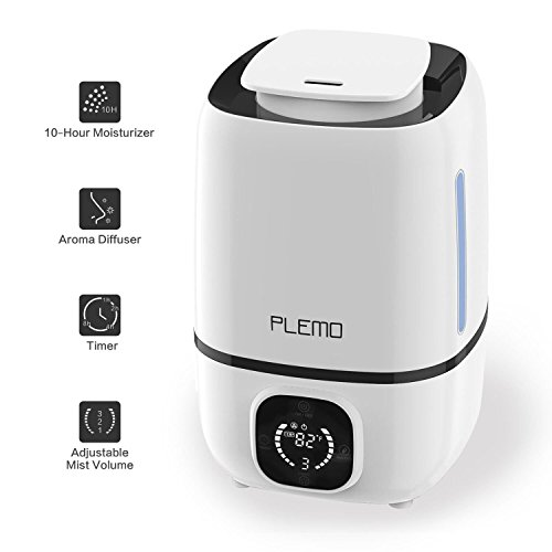 Ultrasonic Cool Mist Humidifiers, PLEMO Single Room Humidifiers, Essential Oil Diffusers with Remote Control, LED Display, Night Light, Adjustable Mist, Timer, Auto Shut-off - 3L/0.8 Gallon