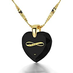 Gold Plated Heart Necklace I Love You Pendant Infinity Symbol 24k Inscribed on Clear Cubic Zirconia, 18""