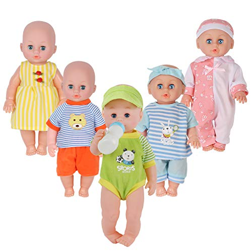 - Set of 5 for 11-12-13-14 Inch Newborn Reborn Alive Doll Baby Doll Clothes Dress Costumes Gown Outfits with Feeding Bottle Birthday Xmas Present Wrap