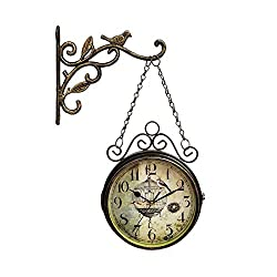 biliten Innovative Retro Wall Clock - Double Sided Simple Round Silent Wrought Iron Quartz Clock for Living Room Decoration