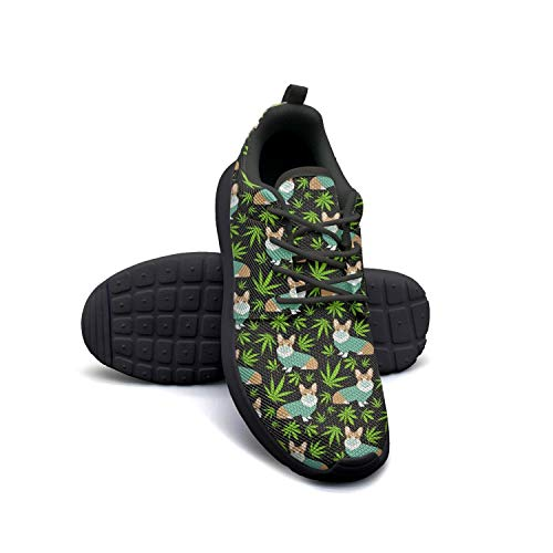 Cannabis Leaf Dog Black Lightweight Running Shoes Women Sneaker Athletic Comfort Shoes