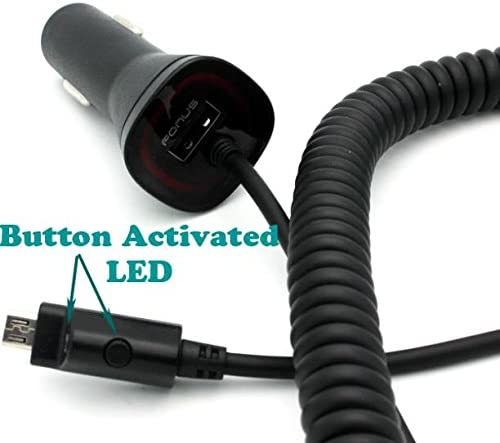 3.1Amp Rapid Car Charger DC Power Adapter USB Port MicroUSB Coiled Cable with Touch Activated LED Light for Verizon Motorola Droid Turbo 2 Verizon Motorola Droid Ultra