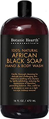 Botanic Hearth African Black Soap, Natural Body Wash and Shampoo, Sulfates Free, Parabens Free, No Fragrances or Synthetic Chemicals, 16 fl oz