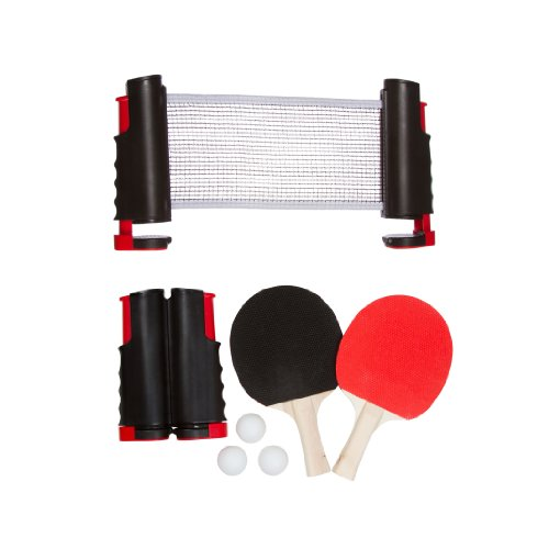 Trademark Innovations Portable & Lightweight Ping Pong Game Set (Red) (Pong Net Pong)