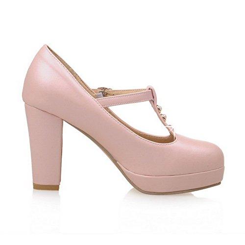 AllhqFashion Damen Rund Zehe Hoher Absatz Weiches Material Schnalle Pumps Schuhe Pink