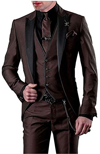 (One Button 3 Pieces Brown Wedding Suits Notch Lapel Men Suits Groom Tuxedos Brown 46 chest / 40 waist )