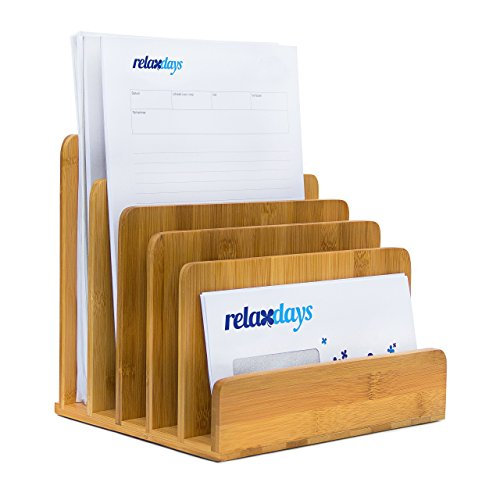 (Relaxdays Document Holder Bamboo With Letter Tray 23 x 24.5 x 20.5 cm Practical Organization System For Your Desk Table Magazine, Document, Paper Holder,)