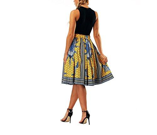 Haililais Femme Jupe Court Loisir Jupe Plisse Taille Haute Femelle Skirt ImprimEs Vintage Jupe A-Line Amincissante Skirt Grande Taille Jupe Yellow