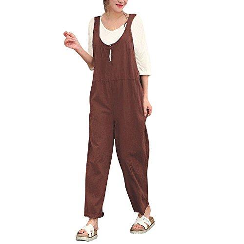 Brown Shirt Grey Pants - JESFFER Women Sleeveless Dungarees Loose Cotton Long Playsuit Jumpsuit Pants BW/M