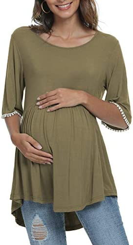 Xpenyo Womens Maternity Tops Shirts Cute Lace Bell Sleeve Pregnancy T-Shirt Tee