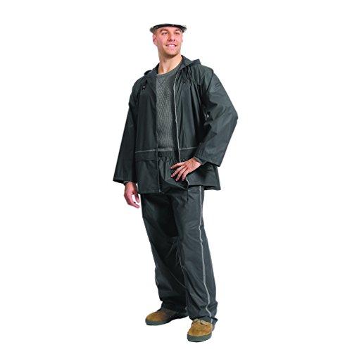 Galeton 12244-XXL-BK Repel Rainwear PVC on Nylon Flexible Rain Suit with Reflective Stripes, 2X-Large, Black