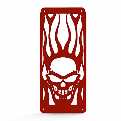Skull Flame Red Powdercoat Radiator Grill Guard Cover fits: 1988-2008 Honda Shadow VLX 600 VT600 - Ferreus Industries - GRL-103-09-red