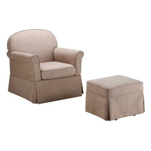 Baby Relax Swivel Glider and Ottoman Set, Hickory Brown Microfiber