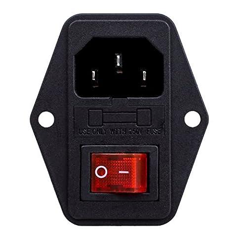 Inlet Module Plug Fuse Switch Male Power Socket 10A 250V 3 Pin IEC320 C14