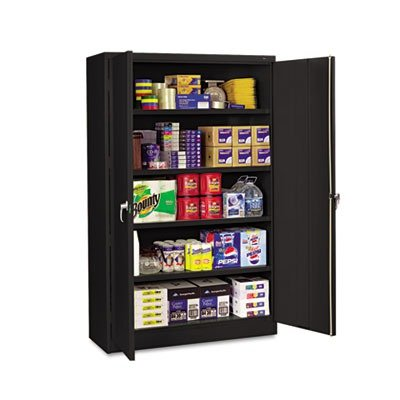 Tennsco-J2478SU-Heavy-Gauge-Steel-Jumbo-Storage-Cabinet-5-Shelves-400-lbs-Capacity-per-Shelf-48-Width-x-78-Height-x-24-Depth-Black