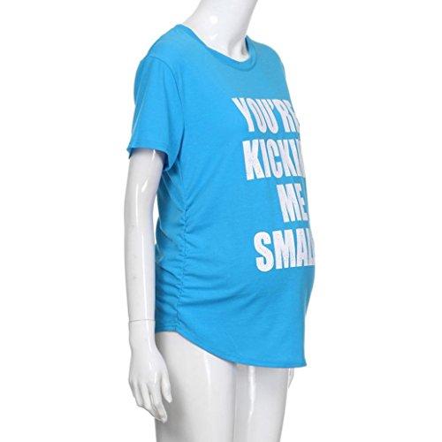 Donna Top Maglietta Shirt Corta Incinte Premaman Lettera Manica Maglia Stampa Pr Canotta byste Camiciola 8wgAqp