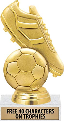 """Soccer Trophies - 6"""" Soccer Ball and Soccer Cleat Trophy for Soccer, Great Soccer Team Awards 1 Pack"""