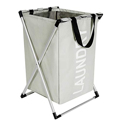 WISHPOOL X-Frame Laundry Basket with Aluminum Slim Laundry Basket Narrow Basket for Laundry Dirty Clothes Basket for College Apartment Home Use(Grey)