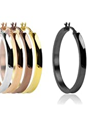 316L Surgical Steel Ion Plated Concave Large Hoop Earing - 5 Colors to Choose From - 35mm