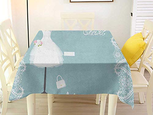 L'sWOW Oilproof/Waterproof Square Tablecloth Bridal Shower Vintage French Inspired Bride Dress with Floral Frames Desiign Print Baby Blue and White Stripe 60 x 60 Inch