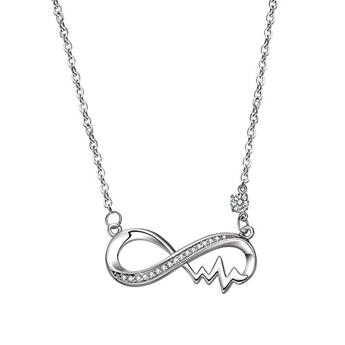Symbol Female Pendant (mnefel Women Eight Symbol Pendant Necklace Infinity Pendant Necklace with Electrocardiogram for Women Girl)